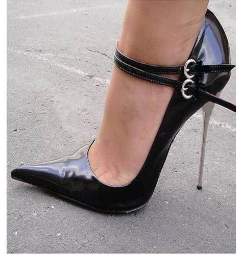 confortevole donna donna donna Metal Stiletto High Heel Pointed Toe Buckle nero Ankle Strap Pumps scarpe  esclusivo