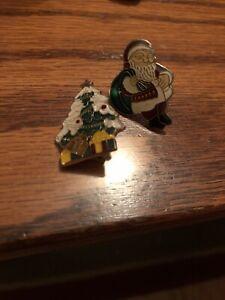 Set-Of-2-Vintage-Xmas-Themed-Pins-Featuring-Santa-And-Xmas-Tree-W-presents