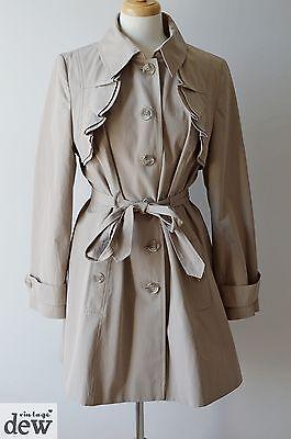 1940's PIN UP beige CAMEL spring MAC trench coat RUFFLES art deco per una 14