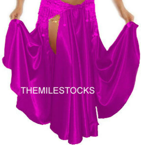 TMS V RED Satin Slit Circle Skirt Belly Costume Tribal ROBE JUPE Dance EHS SSS