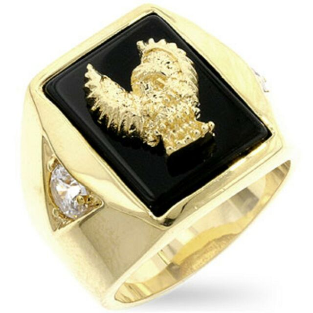18K GOLD EP CZ ROUND CUT MENS EAGLE DRESS RING size 9-14 you choose