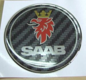 2-5-034-SAAB-CARBON-FIBER-EMBLEM-BADGE-DECAL-9-3-93-95-9-5-9-7X-9-2X