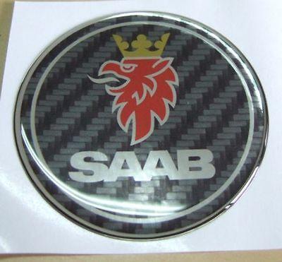 """2.5/"""" 68mm SAAB Carbon Fiber Patten Hood emblem Badge Fit For 9-3 9-5 93 95 9-2X"""