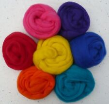1//2 oz ea 7 colors Summer Bright  Wool roving sliver spin felt needle wet soap