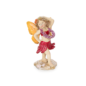 Hula Fairy in Red with Red Lei Resin Miniature Fairy Garden Dollhouse