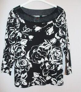 3 L Lauren Langarm Ralph 4 T Schwarz weiß shirt Neuware TYwtA6