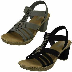 Details zu Damen rieker 66506 Schwarz oder Grau Synthetisch Absatz Sandalen