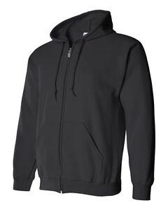 Gildan BLACK Zip Hoodie Heavy Blend Full Zip Hooded Sweatshirt Jumper Size S-5XL