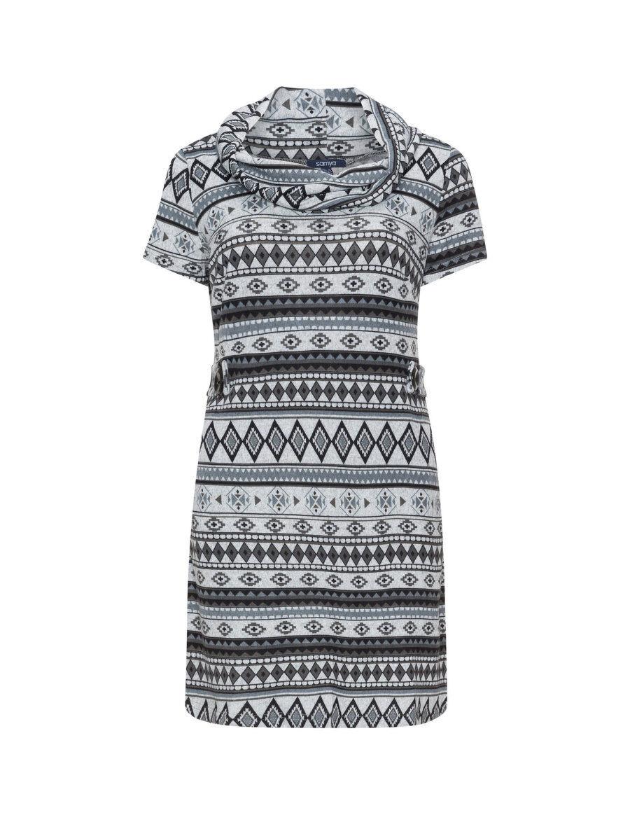 Samya Übergröße grau Rollkragen Aztekenmuster kurzärmeliges Kleid | | | Günstige Preise  | Moderne Technologie  | Verrückte Preis  cd7055