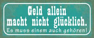 Money Allein Tin Sign Shield Arched Metal 10 X 27 CM K0617