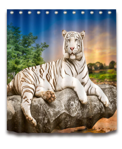 100/% Polyester Waterproof Fabric Shower Curtain Bathroom Mat White Tiger 4160