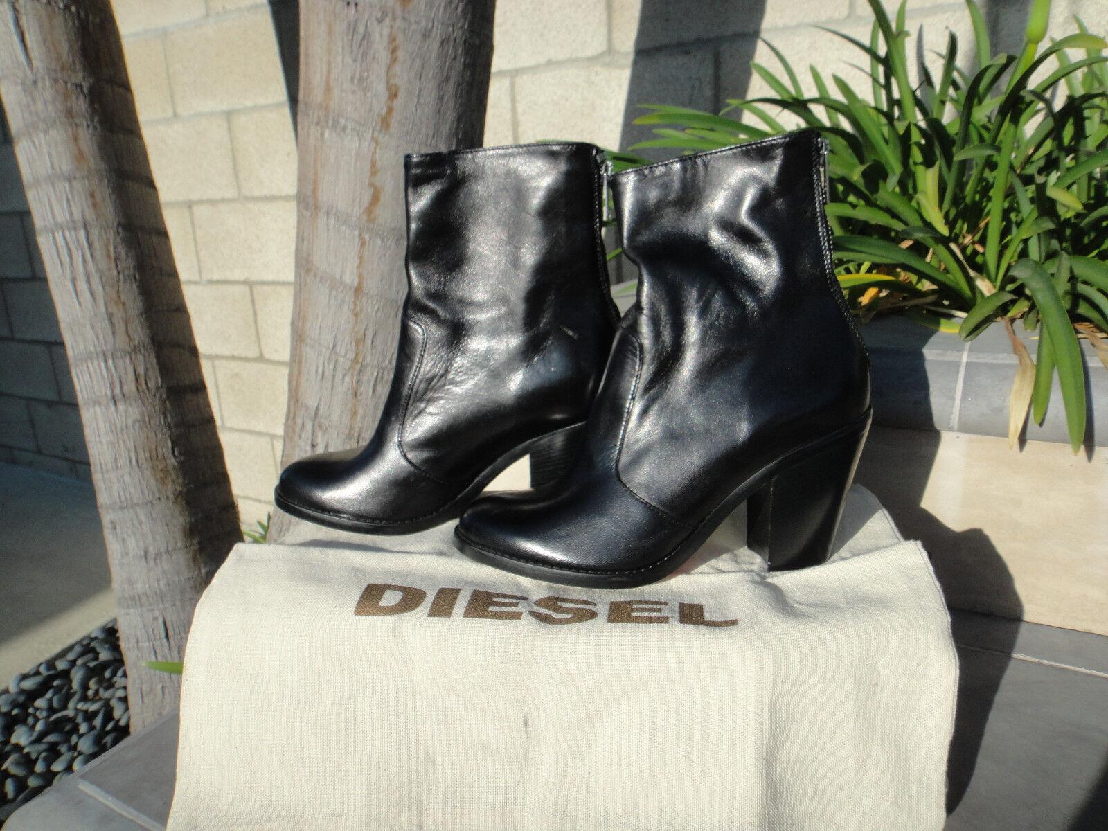 Diesel Loco en bota, Negro Con Cremallera Trasera Trasera Trasera Bolsa para el polvo, Cuero, US tamaño 7.5M, MSRP  330  online al mejor precio