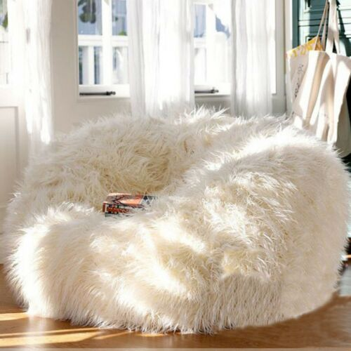 Furry Bean Bag Cover Lounger Size Sofa Chair Living Room Beanbags Cover One Seat