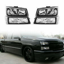 For 2003 2006 Chevy Silverado 1500 2500 3500avalanche Pickup Black Headlights Fits More Than One Vehicle
