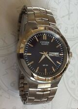 Citizen Men's Quartz Analog Watch Blue Dial Day & Date Stainless Steel Bracelet!