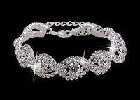 Luxury Gold Plated Wedding Crystal Bracelet Made with Swarovski Elements UK