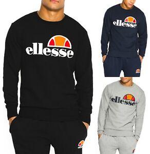 dfe38b6351 Details about ellesse Mens Cotton Crew Neck Print Logo Sweatshirt Black  Blue Grey Sweat Top