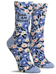"Women/'s Crew Socks Blue Q /""I Was Fuck!ng Talking/""  Novelty Gift 5-10"