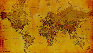 ... Dimensione A1 Grande Mappa Del Mondo Politico Poster