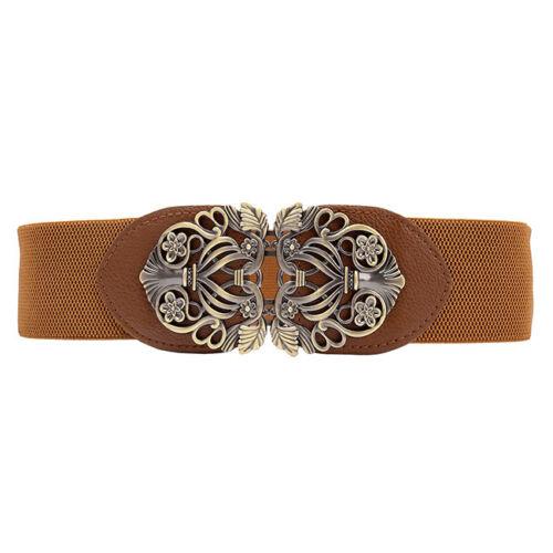 Damen Vintage Stil Hohl Bronze Legierung Schnalle PU Leder elastisch Gürtel Neu
