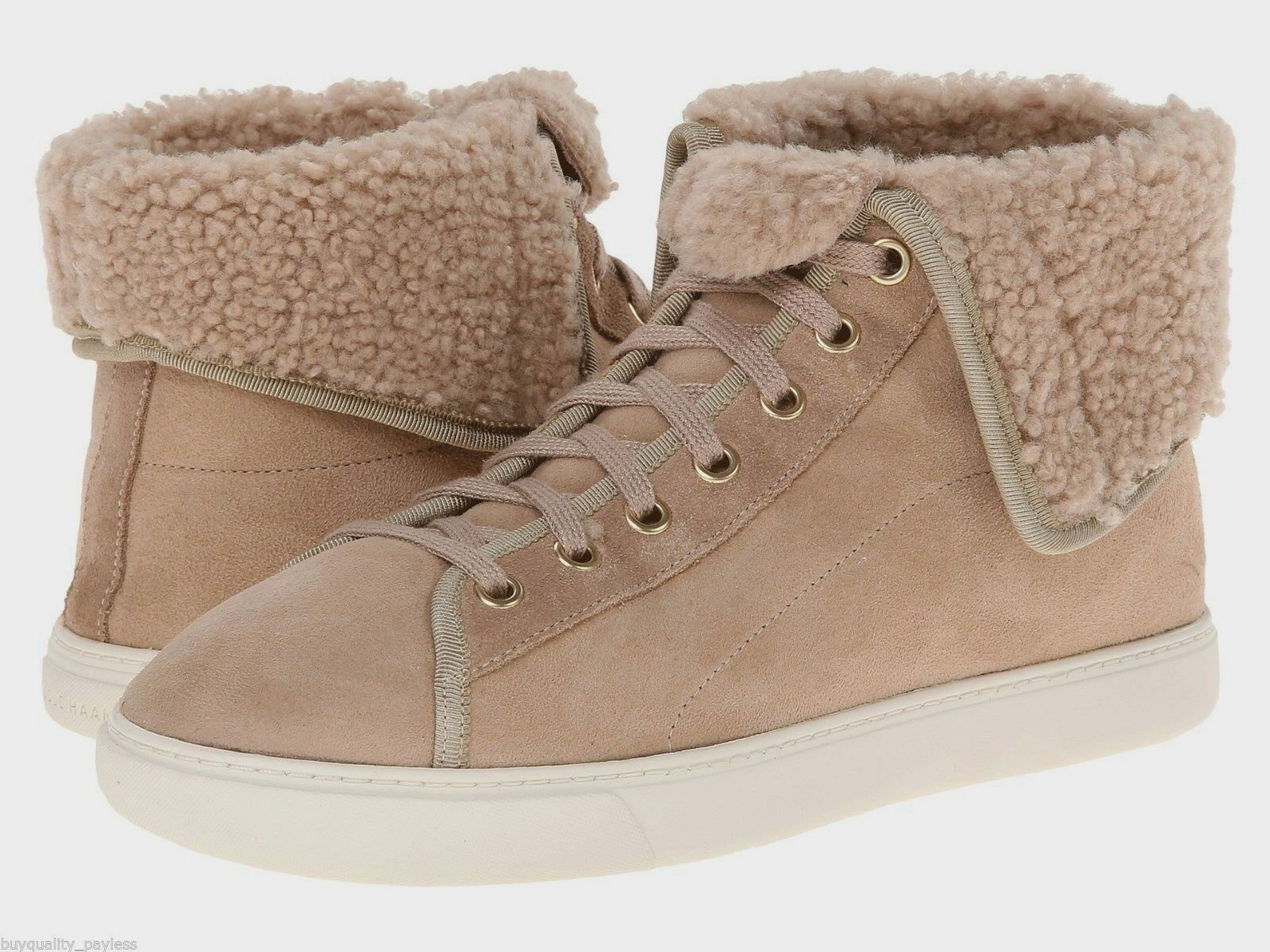 Cole Haan Raven Hightop Sneakers Shearling Womens Maple Sugar 8.5 NEW IN BOX