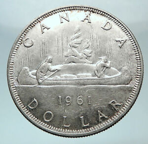 1961-CANADA-UK-Queen-Elizabeth-II-Canoe-Crew-Large-SILVER-Dollar-Coin-i80761