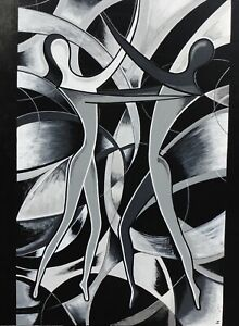 Details About Black And White Abstract Painting Home Decor Art Large Poster Canvas Pictures