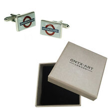 Mens London Underground Sign Cufflinks & Gift Box By Onyx Art
