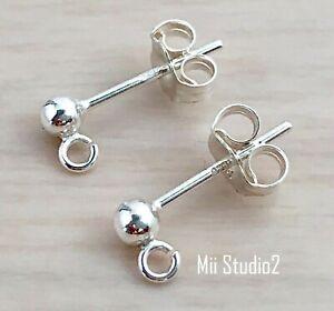 Earring Jewelry Making Ear Wire Post 925 Silver Circle Earring Posts 5 Pairs Sterling Silver Earring Posts w Rings