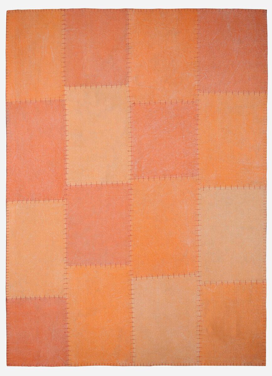 Coton Fait Main Tapis Vintage Patchwork Design Orange 120x170cm