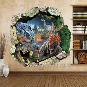 3d view dinosaur kids room home decor wall sticker decal for Sticker mural 3d