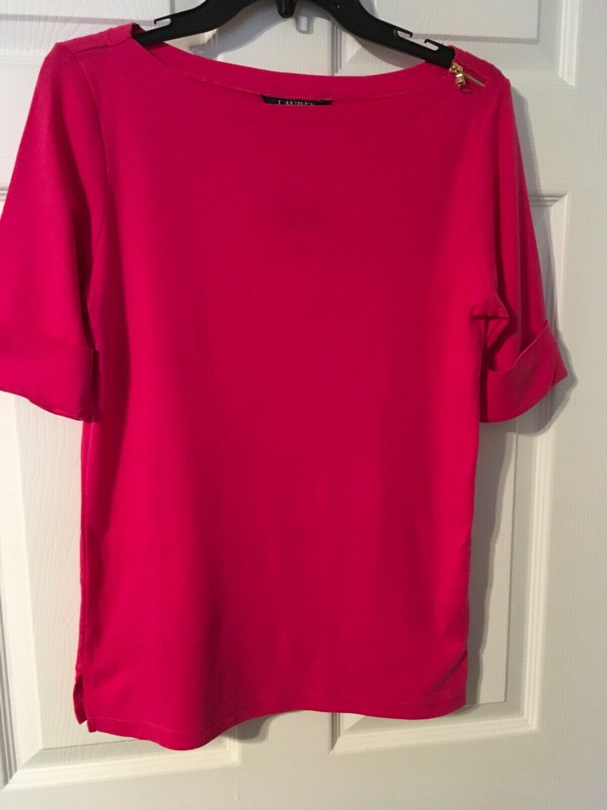 Ladies Ralph Lauren Hot Pink Short Sleeve Zipper Embellished Blouse