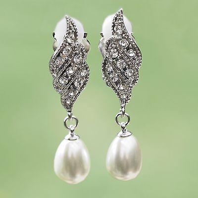 Besorgt Neu 4,6cm Ohrclips Mit Glas Perlen / Strasssteine Creme/kristallklar Ohrringe Und Verdauung Hilft
