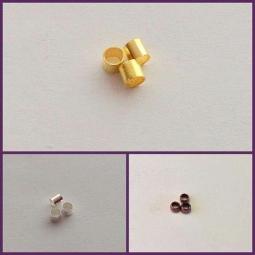 jewellery making 200 crimp end bead findings 2-2.5mm Silver,Gold, Bronze
