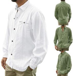 Men-039-s-Cotton-Linen-Lapel-Shirt-Casual-Loose-Long-Sleeve-Button-Down-Plain-Top-76