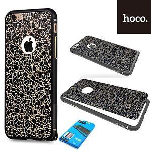Hoco-Lame-Aluminium-Antichoc-amp-Cuir-Autocollant-etui-housse-iPhone-6S-Plus-NOIR