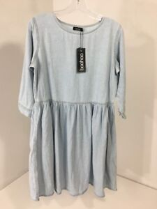 71e572618c5 BOOHOO WOMEN S LAURA OVERSIZED DENIM SMOCK DRESS LIGHT BLUE UK 8 US ...