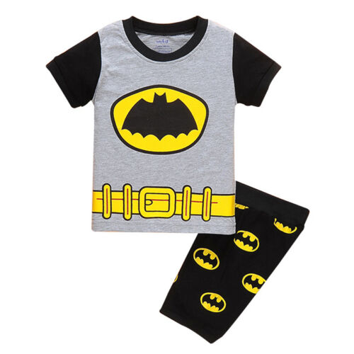Boys Kids Short Pyjamas Batman Cartoon Short Sleeve T-Shirt Shorts Sleepwear Set
