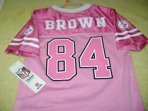 new product 7aa7b 86eee Details about Pittsburgh Steelers # 84 Antonio Brown Pink Jersey GIRLS Size  4T New L@@K