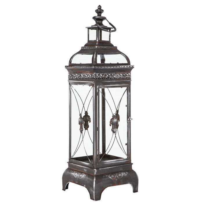 Metal Lantern with Flourish on Door andle glass holder decor hanging