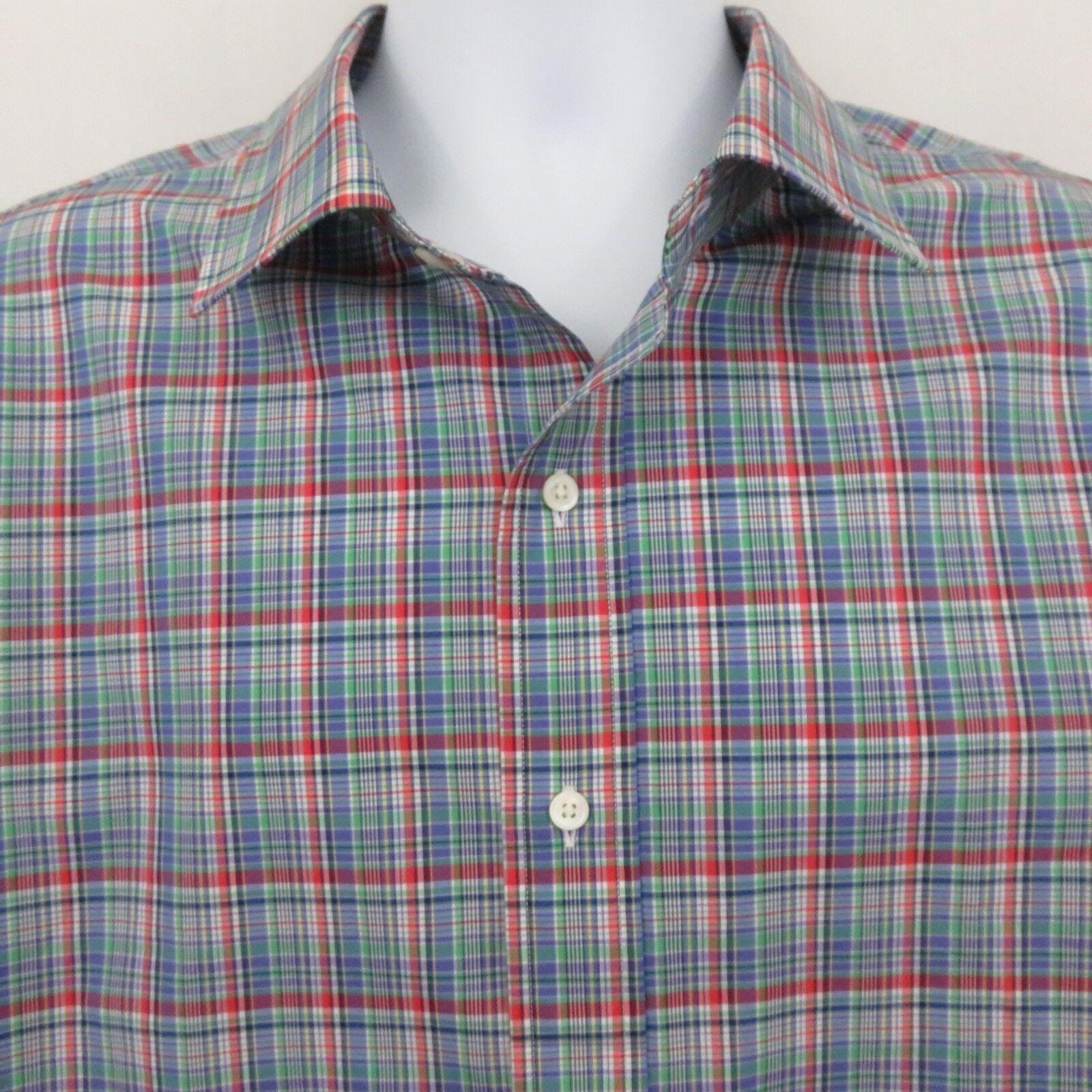 Polo Ralph Lauren Red Purple Green Plaid Mens XXL Shirt Long Sleeve 100% Cotton