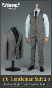 VORTOYS-1-6-Gray-Men-039-s-Gentleman-Suit-Clothing-Set-F-12-034-Male-Action-Figure