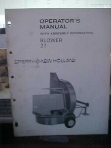 New Holland Blower 27 w/Assembly Information   (1i)
