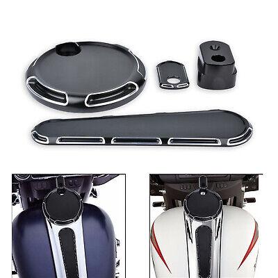 Black Fuel Tank Door Dash Track Insert Ignition Trim Cap For Harley Touring