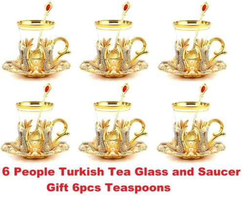 Turkish Tea Set,Turkish Tea Glasses Set,Turkish Tea Cup Set,For 6 People Gift