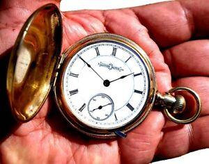 Antique 18 Size Gold Plated Key Wind Lever Set Pocket Watch ILLINOIS  Working