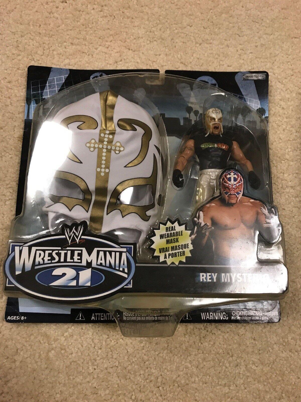 WWE MASCHERATO WM21 Rey Mysterio Maschera oro in argentoo con & cifra WWF Jakks Pacific TRU