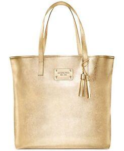 MICHAEL KORS gold metallic tote bag purse shopper shoulder handbag ... d0a2a689da0a3