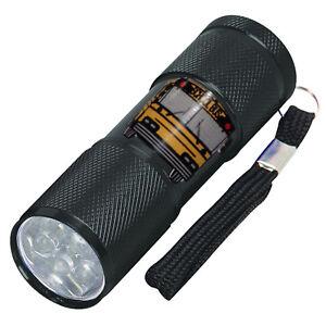 9 led flashlight for school bus driver mechanic black batteries