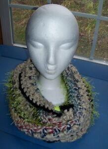 "Handmade Crocheted Infinity Scarf -"" Woodland Path"" multi color & texture"